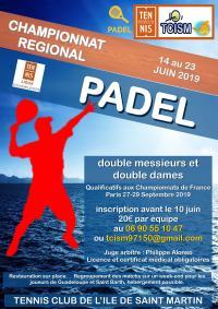 Championnat régional de PADEL double  : les inscriptions sont ouvertes